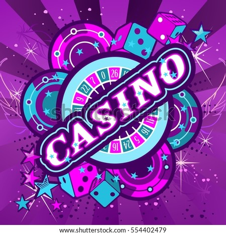 Casino Party Vector game of roulette and dice, emblem gambling house, gambling machines, the glowing neon sign