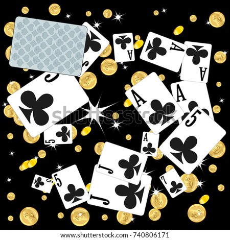 Casino. Playing Cards and Money are falling down. Playing Cards rain. Vector illustration in vintage style.