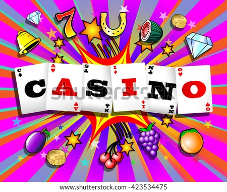 Casino playing cards and slot machine symbols on colorful cartoon exploding background