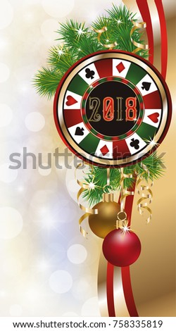 Casino poker chip, greeting card new 2018 year, vector illustration