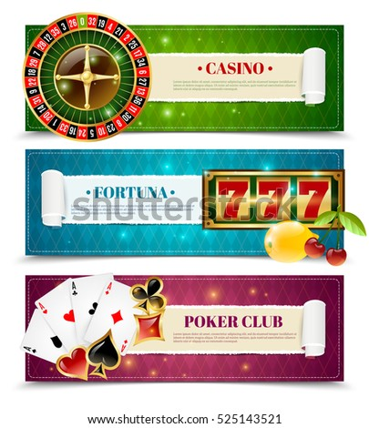 Casino poker club 3 horizontal bookmarks banners with aces and fortune slot machine  isolated vector illustration