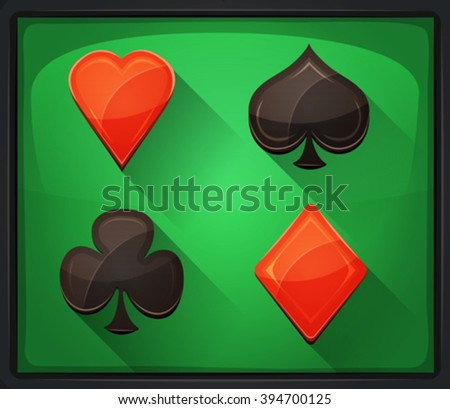 Casino Poker Icons On Green Carpet/ Illustration of casino and poker icons, with spades, diamonds, hearts and clubs gambling cards symbols, on green carpet background