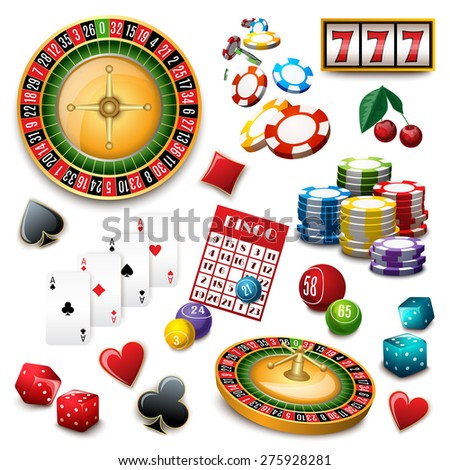 Casino popular gambling online games symbols composition poster with roulette cards deck and bingo abstract vector illustration - stock vector