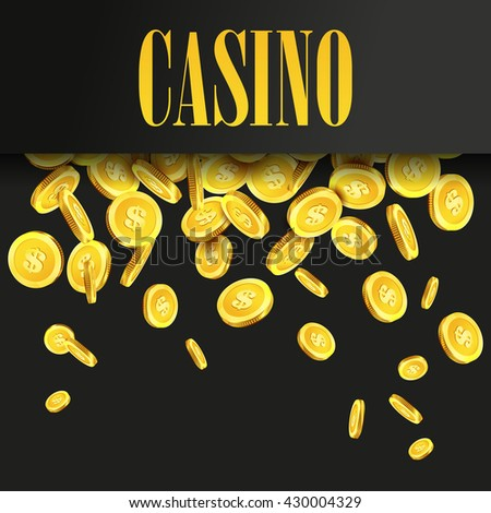 Casino Poster Background or Flyer with Falling Golden Money Coins. Vector Template. Casino Banner. Casino Games Gambling Template background. - stock vector