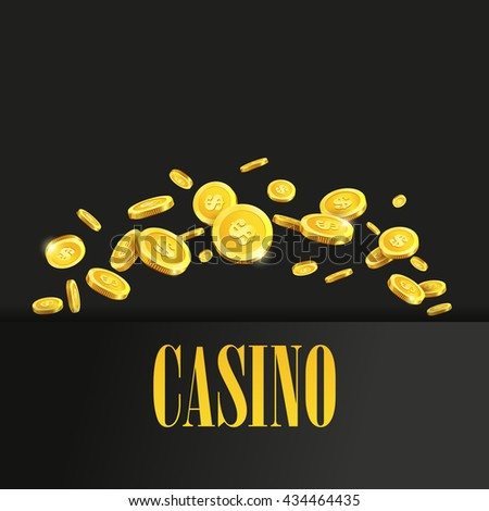 Casino Poster Background or Flyer with Golden Money Coins. Vector Template. Casino Banner. Casino Games Gambling Template background. - stock vector