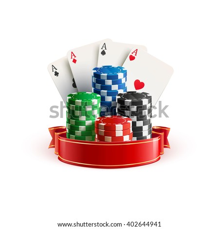 casino realistic icon with casino chips casino cards and red ribbon isolated on white - stock vector