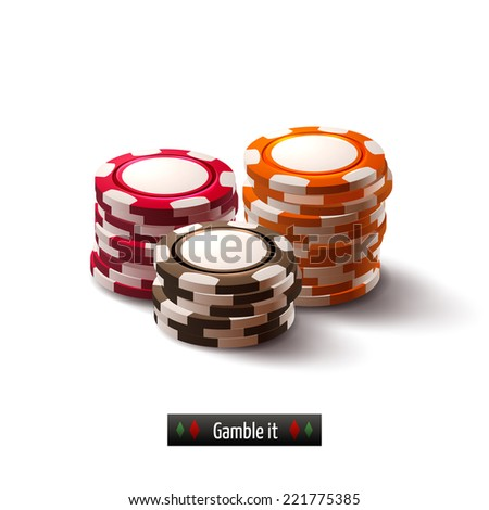 Casino roulette gambling realistic chip stacks isolated on white background vector illustration - stock vector