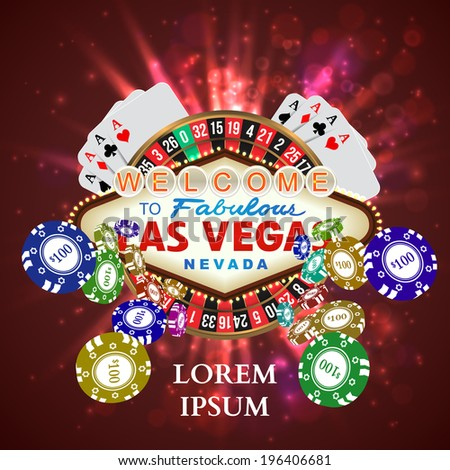 Casino Roulette Playing Cards witn Falling Chips. Vector illustration - stock vector