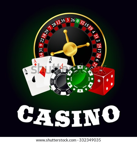 Casino roulette table with wheel, poker ace cards, gambling chips and red dice. For gaming industry theme - stock vector