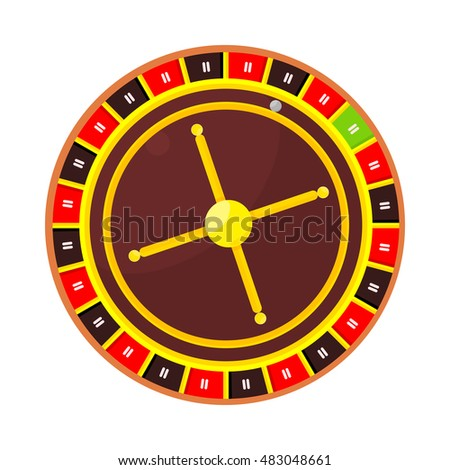 Casino roulette wheel isolated on white. Wheel of fortune infographic design element. Casino logo poster banner icon sign symbol. Playing casino gambling games. Vector illustration in flat style.