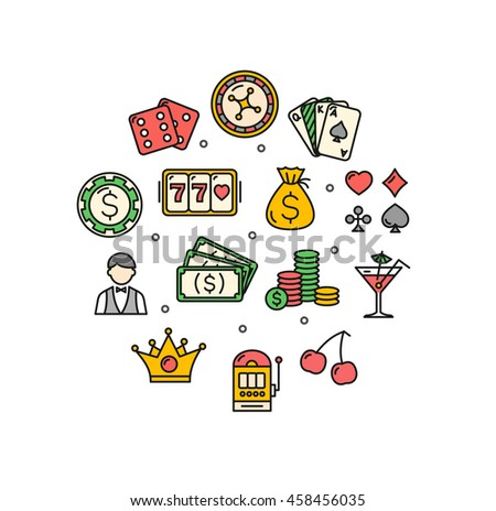 Casino Round Design Template Thin Line Icon Set Isolated on White Background. Vector illustration - stock vector