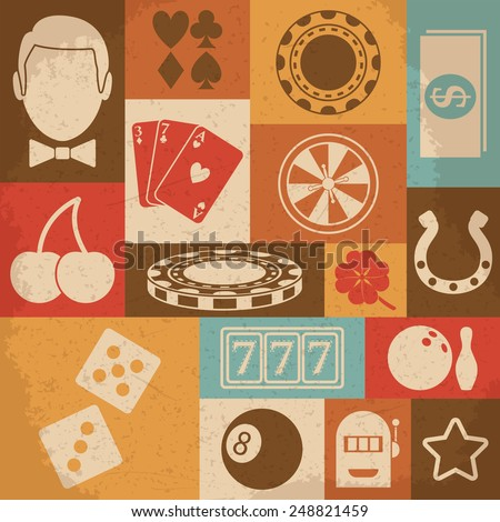 Casino round icons set. Vector illustration - stock vector