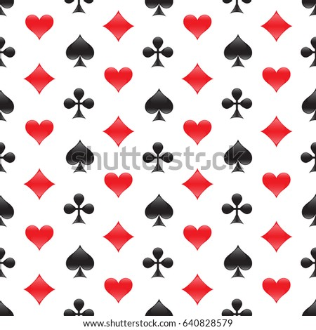 Casino seamless pattern with card suits. Vector illustration.