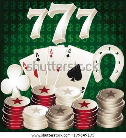 Casino sevens, chips and cards. Jackpot vector illustration. - stock vector