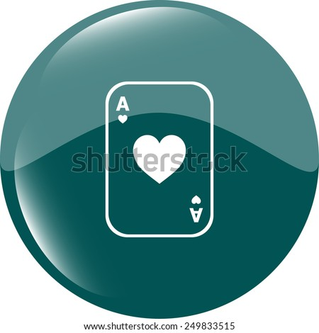 Casino sign icon. Playing card. shiny button. Modern UI website button. vector
