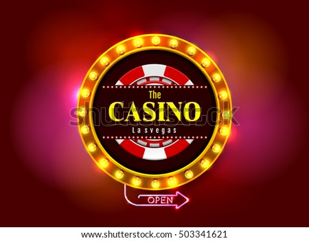 casino sign on colorful light background