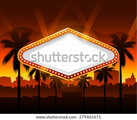 Casino sign with party city in background - stock vector