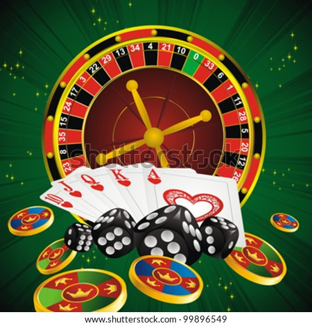 casino symbols roulette wheel, cards, dice and chips on green strip background