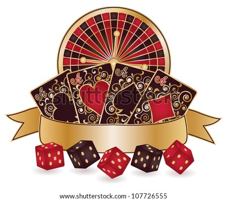 Casino theme isolated with roulette, poker cards. vector illustration - stock vector