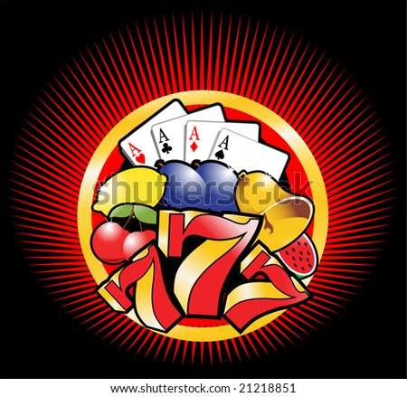 Casino vector design with various elements - stock vector