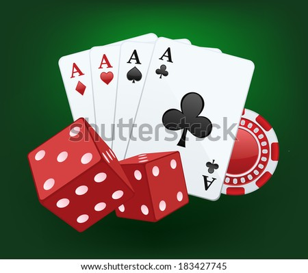 Casino vector splash. Illustration of red dices, cards and chips - stock vector