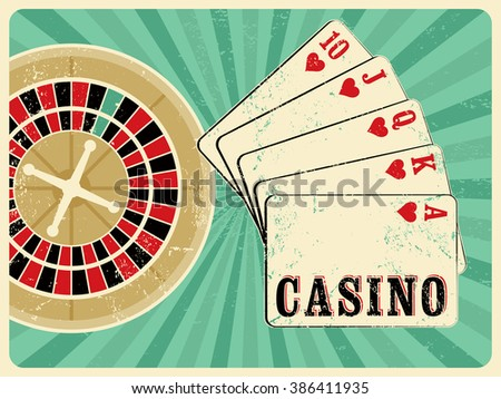 Casino vintage grunge style poster with playing cards and roulette. Retro vector illustration. - stock vector