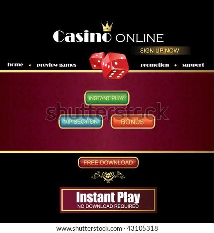 Casino website template - stock vector