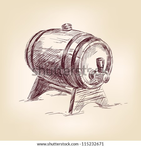 cask of wine hand drawn vector illustration  isolated