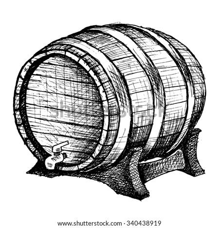 cask sketch - stock vector