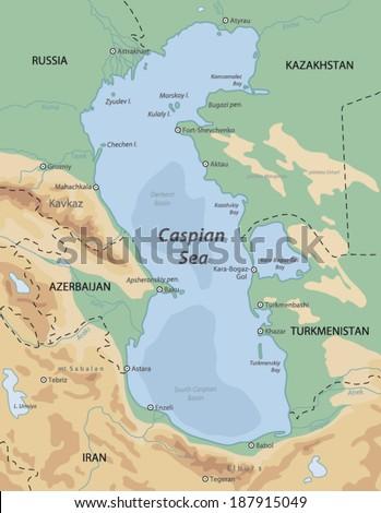 Caspian Sea map - stock vector