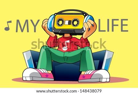 cassette character - stock vector