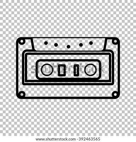 Cassette icon, audio tape sign. Line icon on transparent background - stock vector