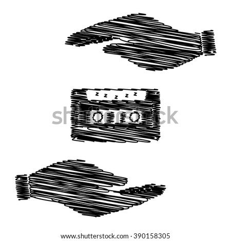 Cassette icon, audio tape sign. Save or protect symbol by hands with scribble effect. - stock vector