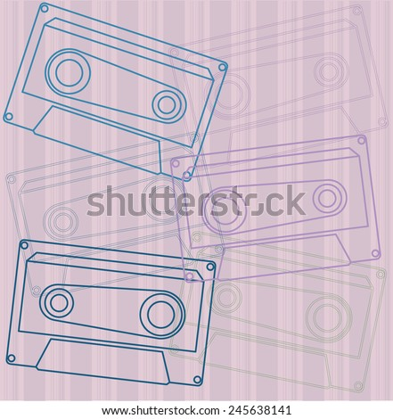 Cassette tape collection - stock vector