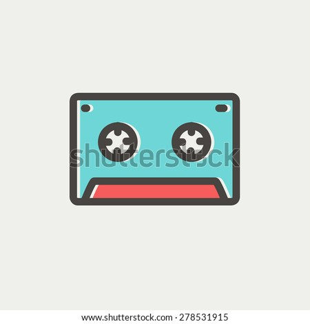 Cassette tape icon thin line for web and mobile, modern minimalistic flat design. Vector icon with dark grey outline and offset colour on light grey background. - stock vector
