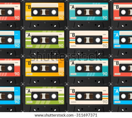 Cassette Tape Seamless Background, Old Technology, Realistic Retro Design. Vector illustration