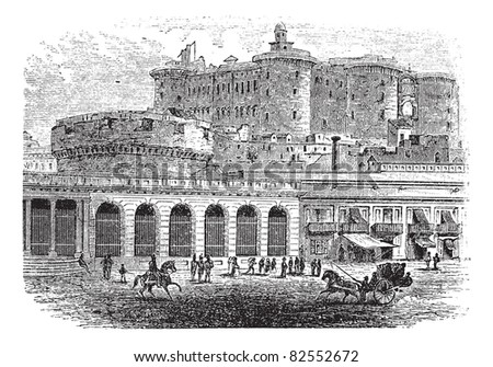 Castel Nuovo in Naples, Campania, Italy, vintage engraved illustration. Trousset encyclopedia (1886 - 1891).