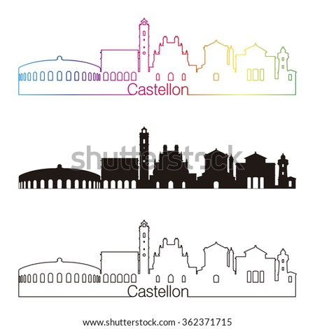 Castellon skyline linear style with rainbow in editable vector file