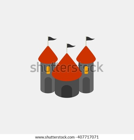 castle amusements park isometric. Amusement park icons. amusement park abstract isolated vector illustration. - stock vector