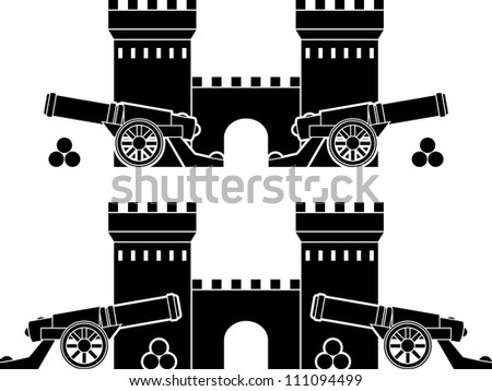 castle and guns with kernels. stencils. vector illustration - stock vector