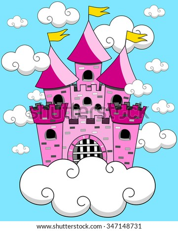 Castle Cartoon Fantasy Floating in the sky