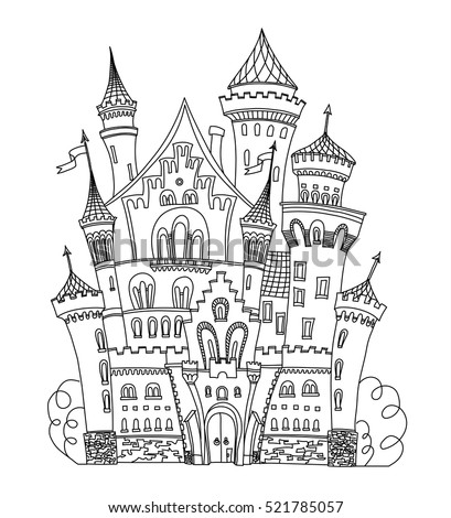 Castle Coloring Book For Adults And Children Vector Illustration Anti Stress Adult