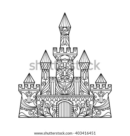 Castle coloring book for adults vector illustration. Anti-stress coloring for adult. Zentangle style. Black and white lines. Lace pattern - stock vector
