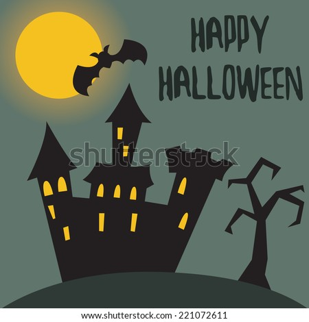 Castle. Halloween vector illustration - stock vector