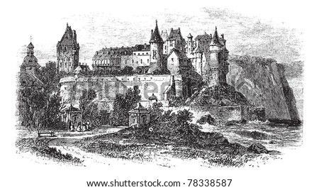 Castle Museum of Dieppe in Normandy, France, during the 1890s, vintage engraving. Old engraved illustration of the Castle Museum of Dieppe. Trousset Encyclopedia - stock vector