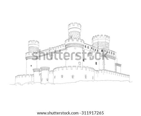 Castle of Manzanares el Real near to Madrid, Spain - stock vector