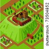 Castle on a countryside hill. Detailed isometric series - stock vector