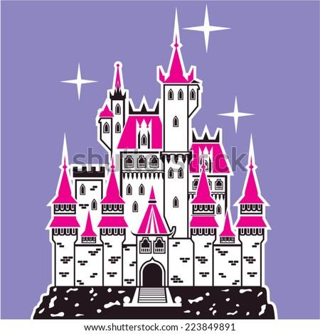 Castle pink tops - stock vector