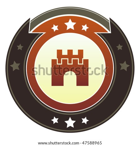 Castle, safety, security icon on round red and brown imperial vector button with star accents suitable for use on website, in print and promotional materials, and for advertising. - stock vector