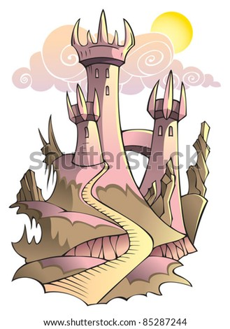 Castle - secure stronghold with several towers, lit by morning sun, vector illustration - stock vector